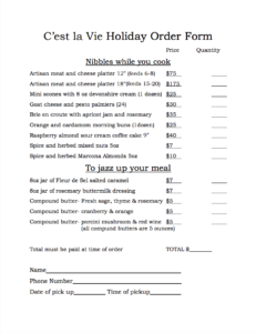 Holiday Order Form (PDF)